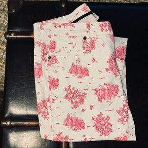 Women's 28 Forever21 Cute White & Pink Floral Pant